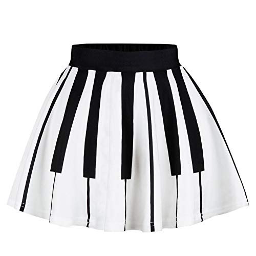IZOcean Girls Piano Music Style Casual Fun Art Design Black White A-Line Skirt ()