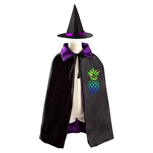 Halloween Costume Children Cloak Cape Wizard Hat Cosplay Green-Blue Pineapple For Kids Boys -