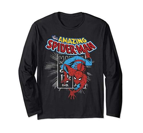 Marvel The Amazing Spider-Man Vintage Comic Poster  Long Sleeve T-Shirt (The Amazing Spider Man Long Sleeve Shirt)