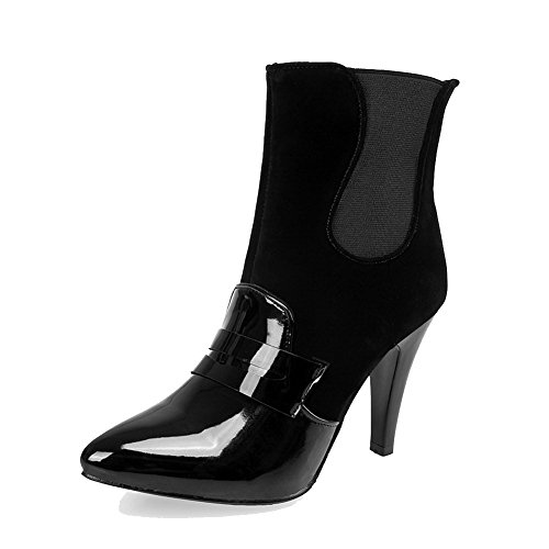 AllhqFashion Womens Soft Leather Pointed Closed Toe Solid Low-Top High-Heels Boots Black ocxpAKj
