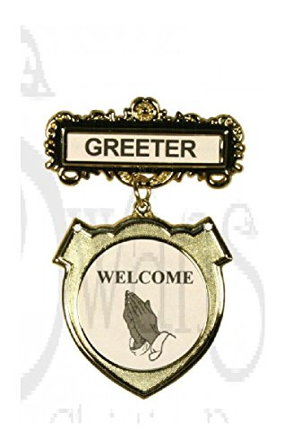 Shield Badge Greeter Ethnic Praying Hands With Magnet (Greeter Badge)