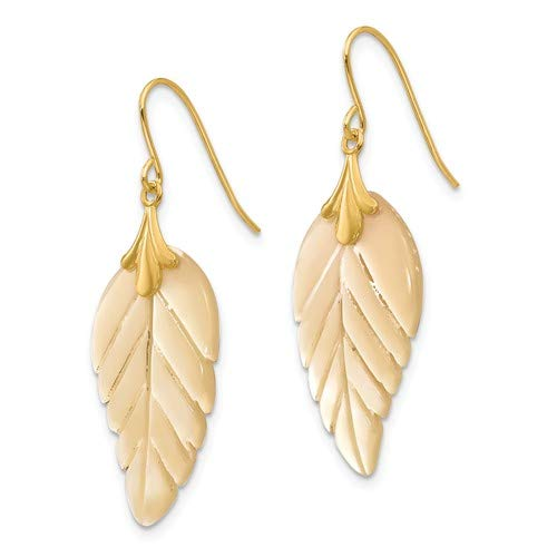 14K Yellow Gold Madi K Mother of Pearl Leaf Dangle Earrings from Roy Rose Jewelry