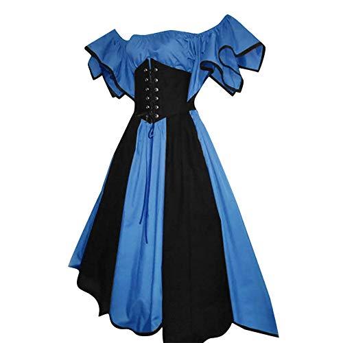 Medieval Dress for Women Renaissance,SMALLE◕‿◕ Women's Vintage Petal Sleeve Wide Shoulder Irish Costume Over Dress Blue