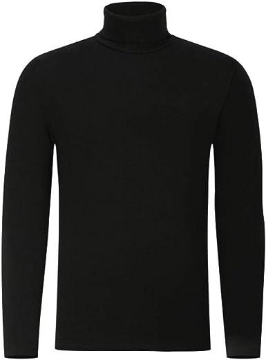Kmgjc Camisa de Punto para Hombre, 100% algodón, Cuello Alto, Camiseta, Manga Larga, Invierno cálido: Amazon.es: Ropa y accesorios