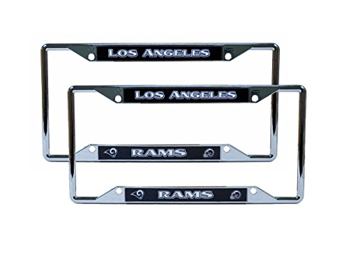 Los Angeles LA Rams NFL Chrome (2) EZ View License Plate Frame Set