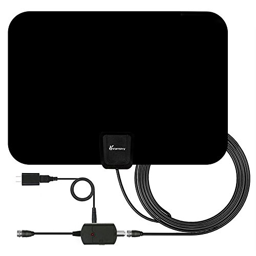 : TV Antenna, Vansky Indoor Amplified HDTV Antenna 50 Mile Range with Detachable Amplifier Signal Booster, USB Power Supply and 16.5FT High Performance Coax Cable - Upgraded Version Better Reception
