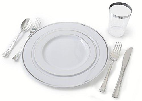 OCCASIONS Full set - Wedding Disposable Plastic Plates, plas