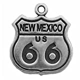 Sterling Silver 3D New Mexico Route 66 Sign Travel Road Trip Charm