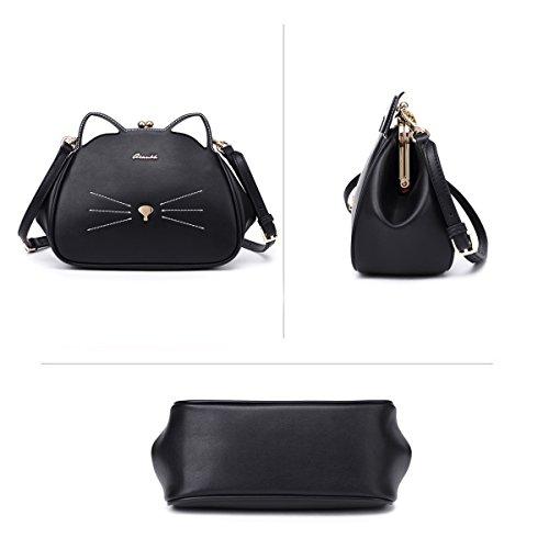 Bag Imitación Piel Hombro Bolsa Pequeña Negro Bolsos Bandolera Niña Animales de Mujer para Negro Gato de znqx8WvUwH