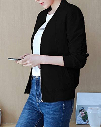 Autunno Cappotto Stampato Con Giacca Schwarz Cerniera Femminilità Moda Giaccone Manica Eleganti Monocromo Unico Di Digitale Primaverile Outerwear Chic Fashion Lunga Donna Ragazza twHqgYT
