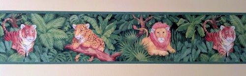 (Jungle Cats Animals Wallpaper Border - Lions, Tigers, Cheetahs - Dark Green Edge…)
