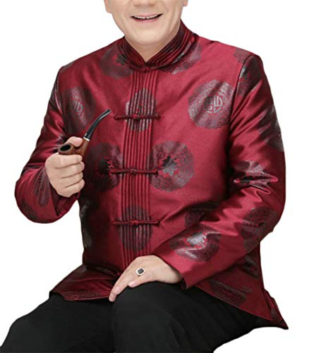 Conffetti Men Frog Tang-Suit Tops Spring-Festival Chinese Costume Jacket Wine Red S