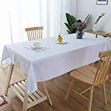 Lespoir Table Cloths Rectangle Cotton White Tablecloth Fabric for Dinning Room Cotton Tablecloth White Tablecloths 54x72 Inch