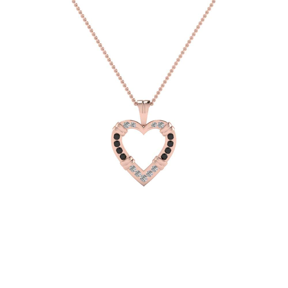 DTJEWELS Heart Pendant with 18 Chain Necklace 0.68 Ct Round Black /& Sim Diamond 14K Gold Plated 925