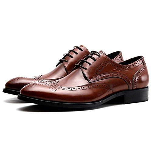 Yr En Pour Officiel D'affaires Hommes Chaussures Travail Chaussures Derbys r Banquet Garçon Lightbrown Véritable Cuir Brogue Hommes Occasionnels rxtqrwPnBR