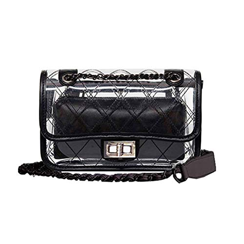 Quilted Small Handbag - Donalworld Girl Clear Bag Small Flap Quilted Chain Strap Crossbody Bag Black
