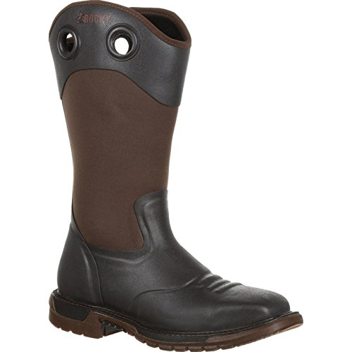 Rocky Men's Original Ride FLX Waterproof Western Work Boot Steel Toe Dark Brown 10.5 -