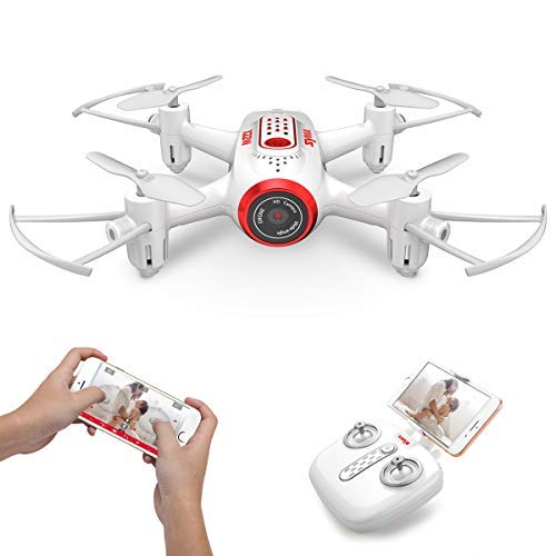 SYMA X22W Mini Drone with Camera Live Video FPV Pocket Drone for Kids and Beginners, RC Quadcopter with App Control, Altitude Hold, 3D Flips, Headless and Mode Extra Batteries, White