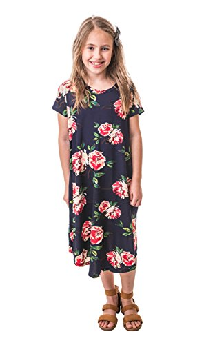 Chrome Classic Girls Midi Floral A-Line Swing Dress Made in The USA (Navy, Medium)