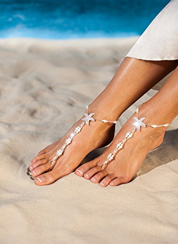 Maldives Beach wedding barefoot sandals Bridal foot jewelry Starfish barefoot sandals Bridal shoes Footless sandals White Anklet Toe ring