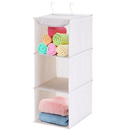 - MaidMAX 3 Tiers Cloth Hanging Shelf Closet Organizer 2 Metal Hooks, Foldable, Beige, 24 Inches High