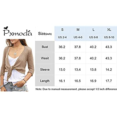 Pxmoda Womens Bolero Cardigan Tie Knot Front Shrug 3/4 Sleeve Cropped Summer Wrap Kimono Sweater Tops Beige at Women's Clothing store