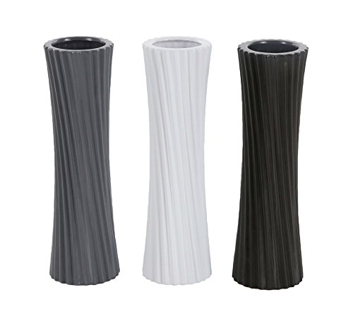 "Deco 79 87726 Ribbed Ceramic Vases (Set of 3), 4"" x 13"", Black/White/Gray - Dimensions: 4X4X13 Dimensions 2: 4X4X13 Dimensions 3: 4X4X13 - vases, kitchen-dining-room-decor, kitchen-dining-room - 41HtjT3hVGL -"