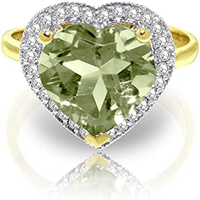 Galaxy Gold GG 14k Yellow Gold Green Amethyst and Diamond Heart Ring