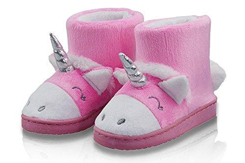 LA PLAGE Girl's Winter Warm Plush Comfy Cute Cartoon Unicorn Bedroom Bootie Slippers(Toddler/Little Kid)
