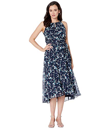 Tahari by ASL Sleeveless Printed Chiffon Mini Floral Halter Dress with High-Low Hemline Floral Spray Navy 4