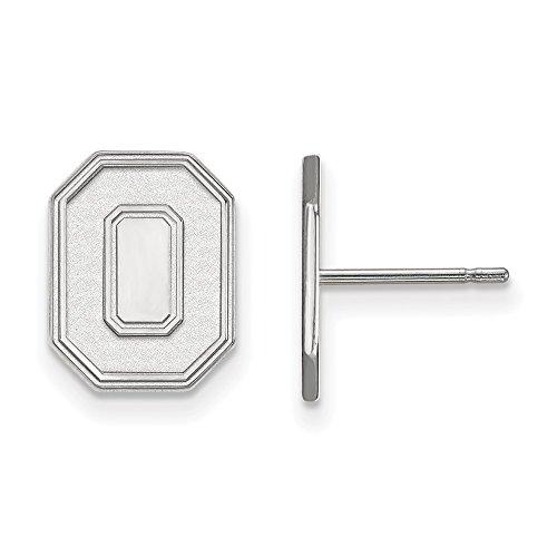 10k White Gold LogoArt Official Licensed Collegiate Ohio State University (OSU) Small Post Earrings by LogoArt