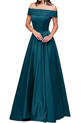 Festkleid U Ausschnitt Abendkleid Blaugruen A Modern Damen Promkleid Ivydressing Satin Linie Partykleid Lang qEvwTtx