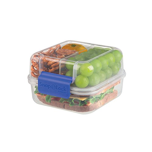 SnapLock by Progressive Lunch Cube To-Go Container - Blue, SNL-1005B Easy-To-Open, Silicone Seal, Snap-Off Lid, Stackable, BPA FREE