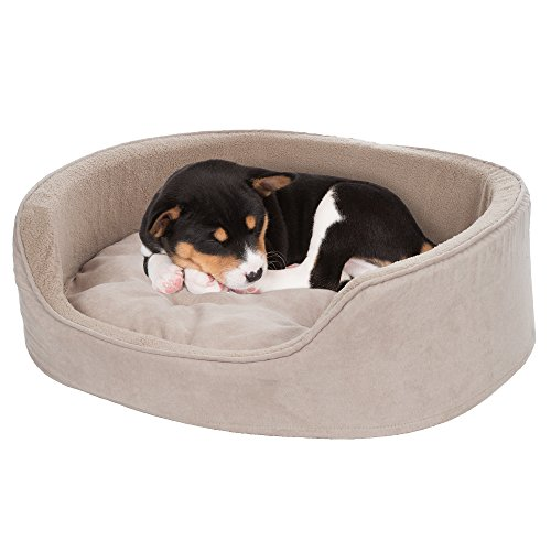 PETMAKER Small Cuddle Round Microsuede Pet Bed, Clay