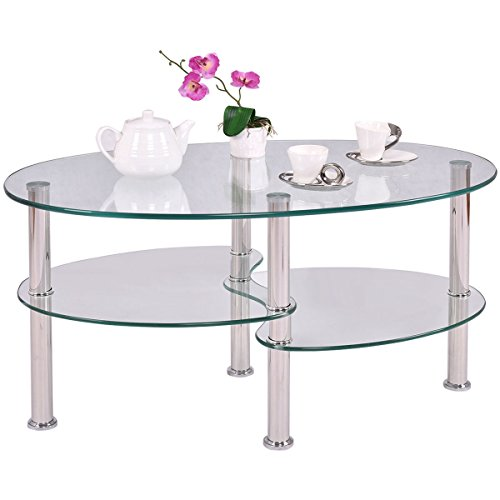 New Tempered Glass Oval Side Coffee Table Shelf Chrome Base Living Room Clear For Living Room