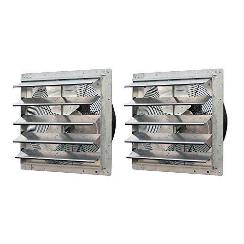 Exhaust Variable 2 Speed Fan - iLiving ILG8SF20V 20 Inch Variable Speed Wall Mounted Steel Shutter Exhaust Fan (2 Pack)