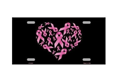 - Breast Cancer Pink Ribbons Heart Shaped License Plate Tag Sign