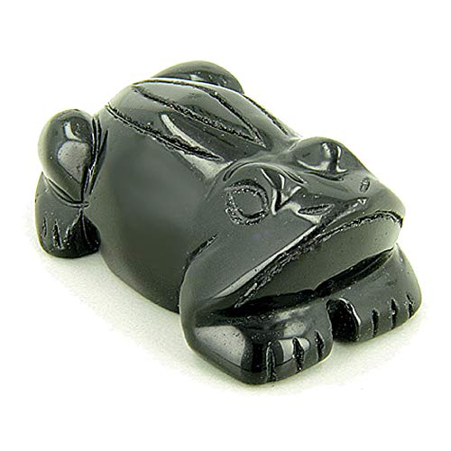 (Good Luck and Spiritual Frog Totem Black Onyx Gemstone Carving)