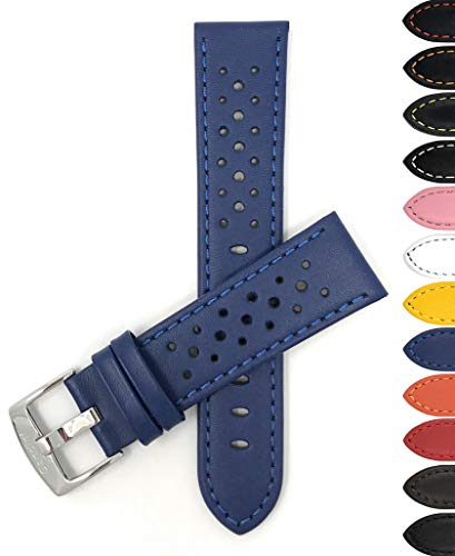 22 Mm Italian - Bandini 22mm Mens Italian Leather Watch Band Strap - Royal Blue - Vented Racer - GT Rally
