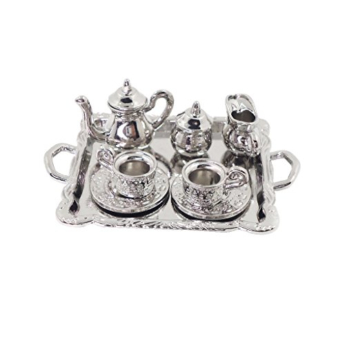 (MonkeyJack 10 Pieces Silver Alloy Tea Lid Pot Cups Tray Set for 1:12 Dollhouse Miniatures Doll Home Furniture Decoration)