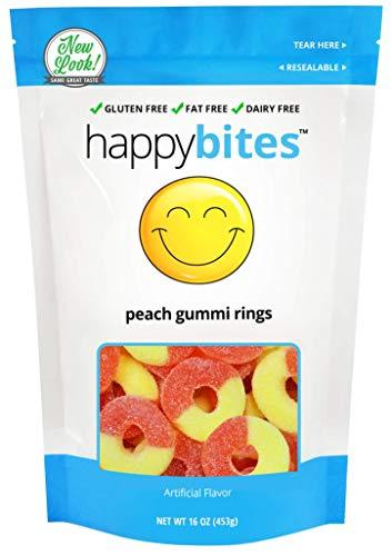 Gummi Candy Peaches 5 Pound - Happy Bites Peach Gummi Rings - Gluten Free, Fat Free, Dairy Free - Resealable Pouch (1 Pound)