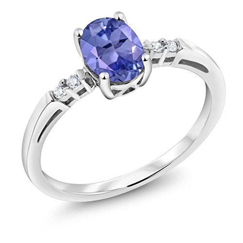 14K White Gold 0.78 Ct Oval Blue Tanzanite White Diamond Women's Ring (Ring Size 7) Diamond Tanzanite Ring