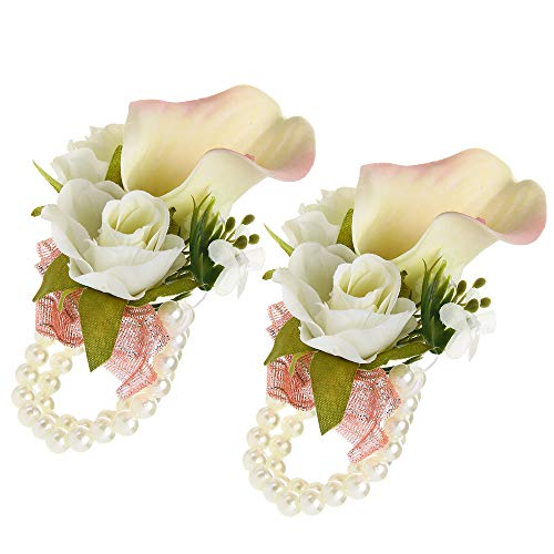 (Febou Wrist Corsage Pack of 2 Wedding Bridal Wrist Flower Calla Lily Wristband Hand Flower for Bride Bridesmaid Perfect for Wedding, Prom, Party (B-Pink))