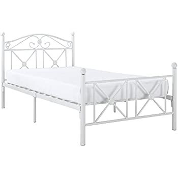 modway cottage iron metal platform bed in white twin size