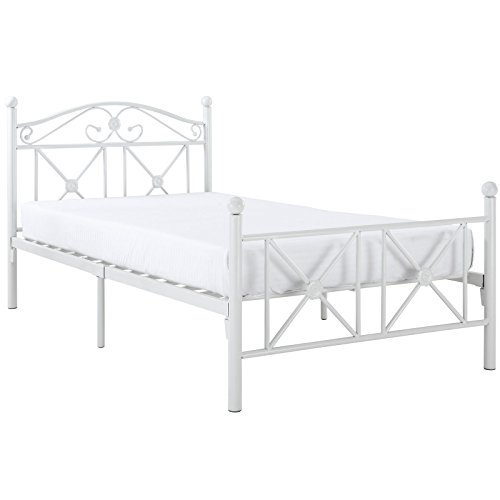 Modway Cottage Iron Metal Platform Bed in White, Twin (Cottage Iron Bed)