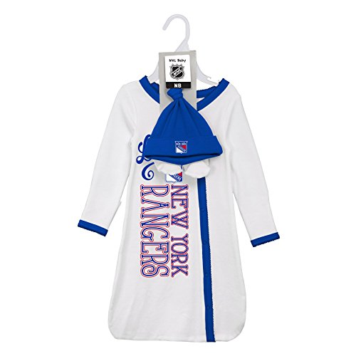 New York Baby Gown - Outerstuff NHL New York Rangers Children Unisex Love Gown, Hat & Bootie Set, 1 Size, White