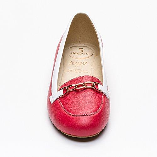 Femme blanc Rouge Cuir Zerimar Ballerine Pour Ete En Hx1OwIqv