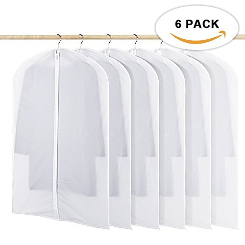 HOMMINI Pack of 6 Hanging PEVA Garment Bags Lightweight, Full Clear Zipper Suit Bag for Closet Storage or Travel Clothes Cover, Dust Cover(40 x 24) (M)