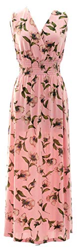 Plum Feathers Exotic Print Smocked Waist Maxi Dress Plus & Regular Sizes Floral 4 Pink l