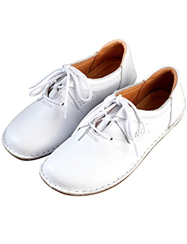Lace Zoulee Shoes Toe Flat Made Women's Hand Leather White Round Up Srq4xS